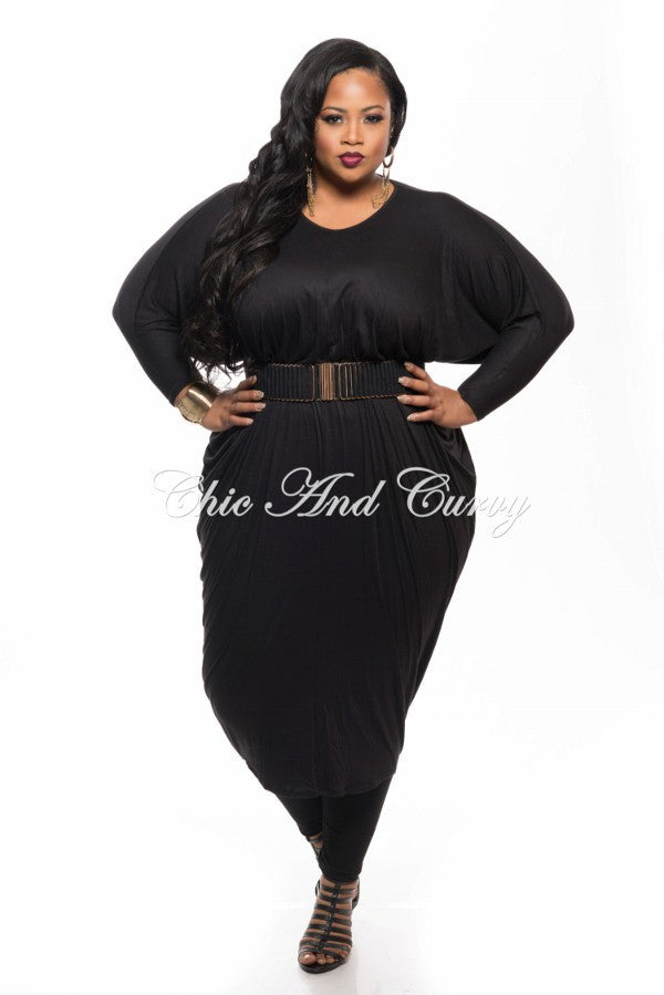 New Plus Size Long Sleeve Harem Dress in Black