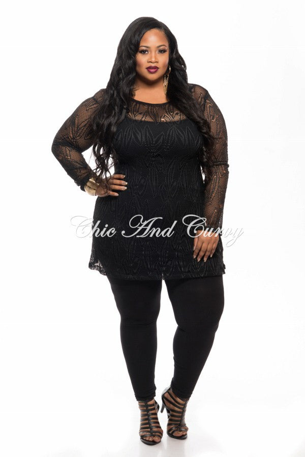 Final Sale Plus Size Long Sleeve Lace Netting Design Top in Black
