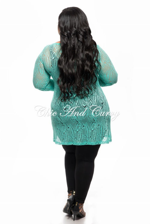 Final Sale Plus Size Long Sleeve Lace Netting Design Top in Jade