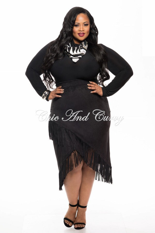 New Plus Size Skirt Faux Suede with Overlapping V-Split Fringe Bottom in Black