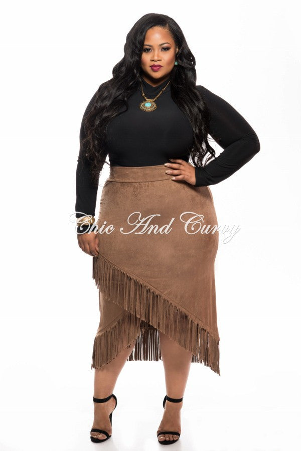 New Plus Size Skirt Faux Suede with Overlapping V-Split Fringe Bottom in Mocha