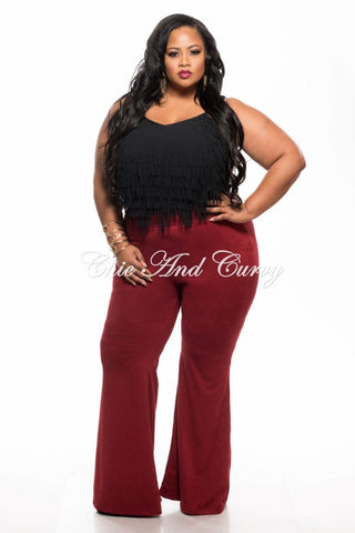 New Plus Size Bell Bottom Pants in Faux Suede in Burgundy