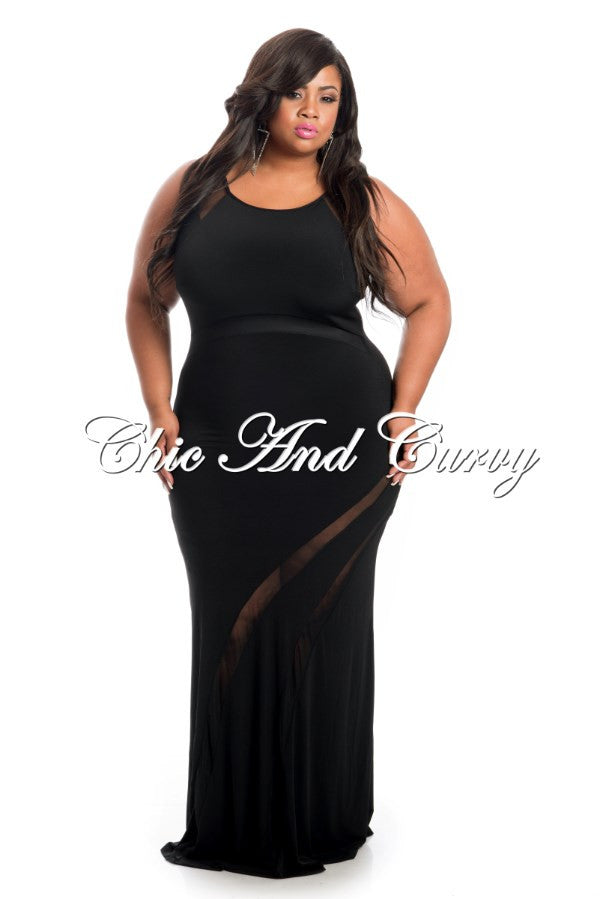 New Plus Size BodyCon Sleeveless Gown in Black with Mesh Lower Cutouts