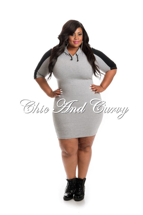 New Plus Size BodyCon Hooded Dress in Grey and Black