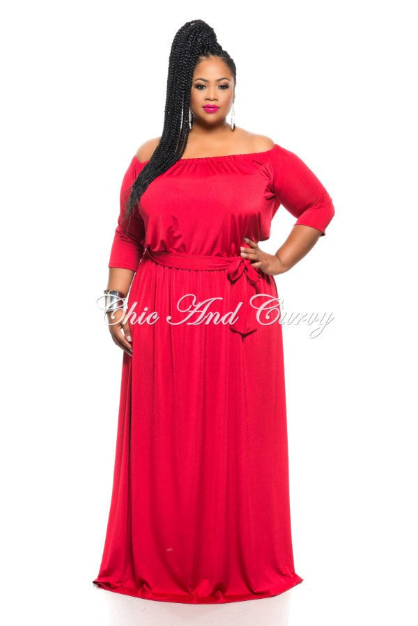 Final Sale Plus Size Long Off The Shoulder Peasant Dress With Tie In