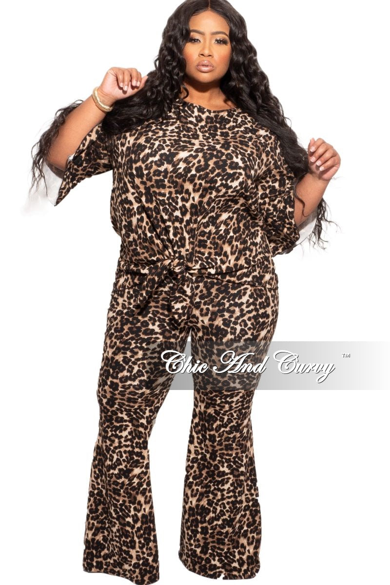 New Plus Size 2-Piece (Knotted Top & Bell Pants) Set in Animal Print
