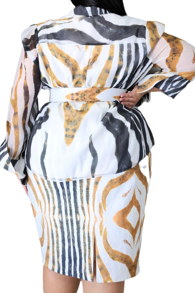 New Plus Size 2-Piece Skirt Set in Tiger Print