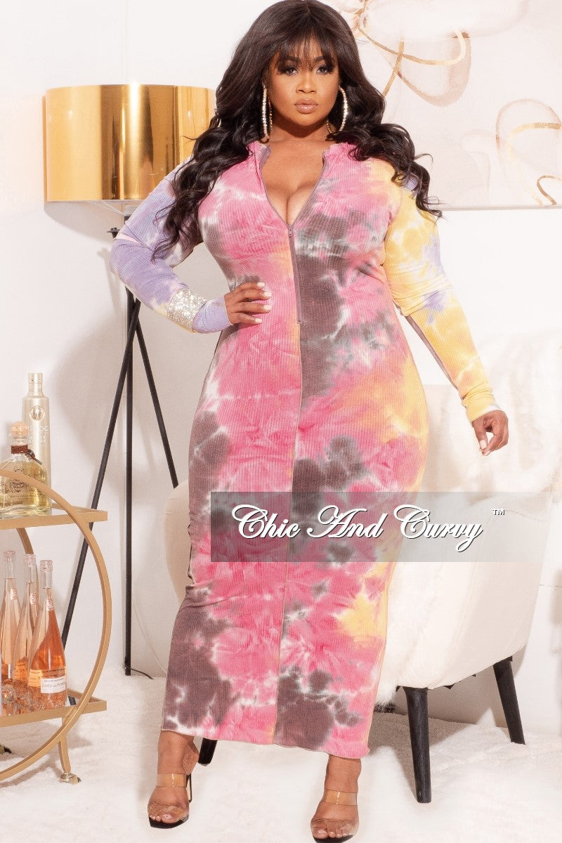 *Final Sale Plus Size Ribbed BodyCon with Exposed Seams in Yellow Pink Multi-Color Print