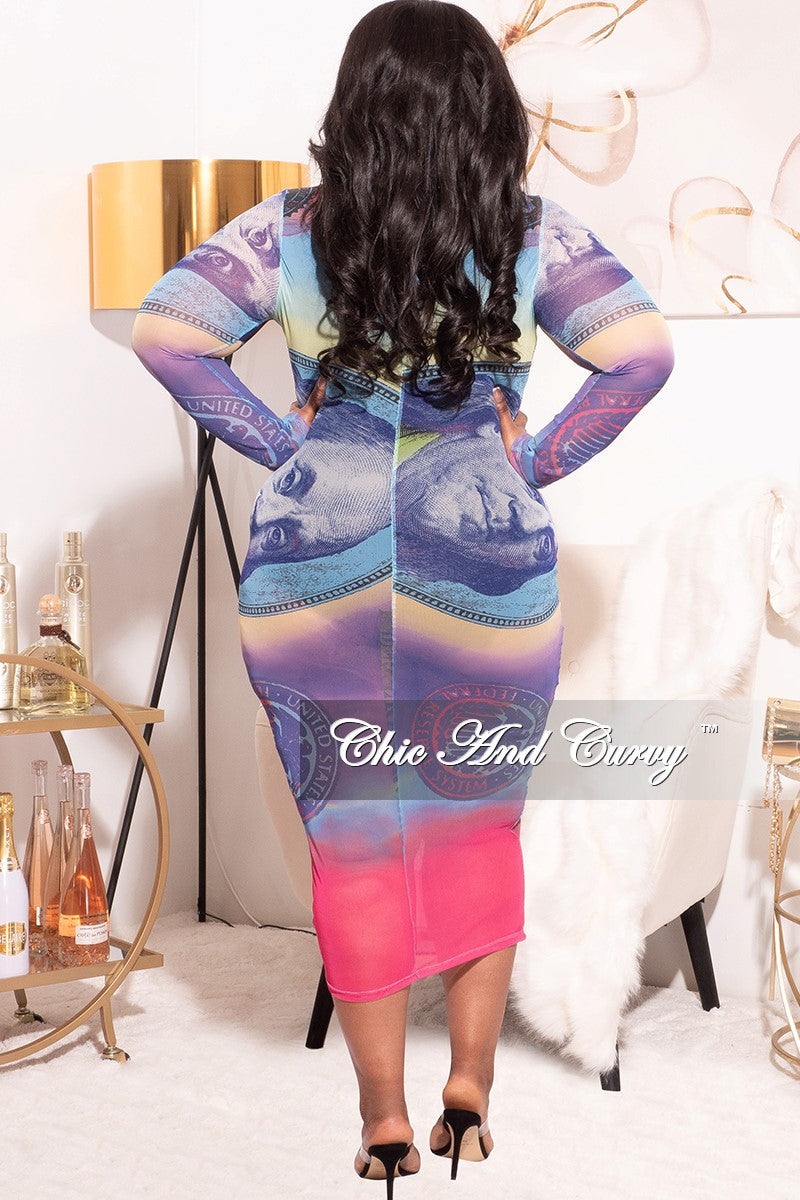 Final Sale Plus Size BodyCon In Mesh with Colorful Money Print Love