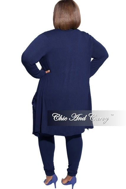 New Plus Size 2-Piece Cardigan and Legging Set in Navy