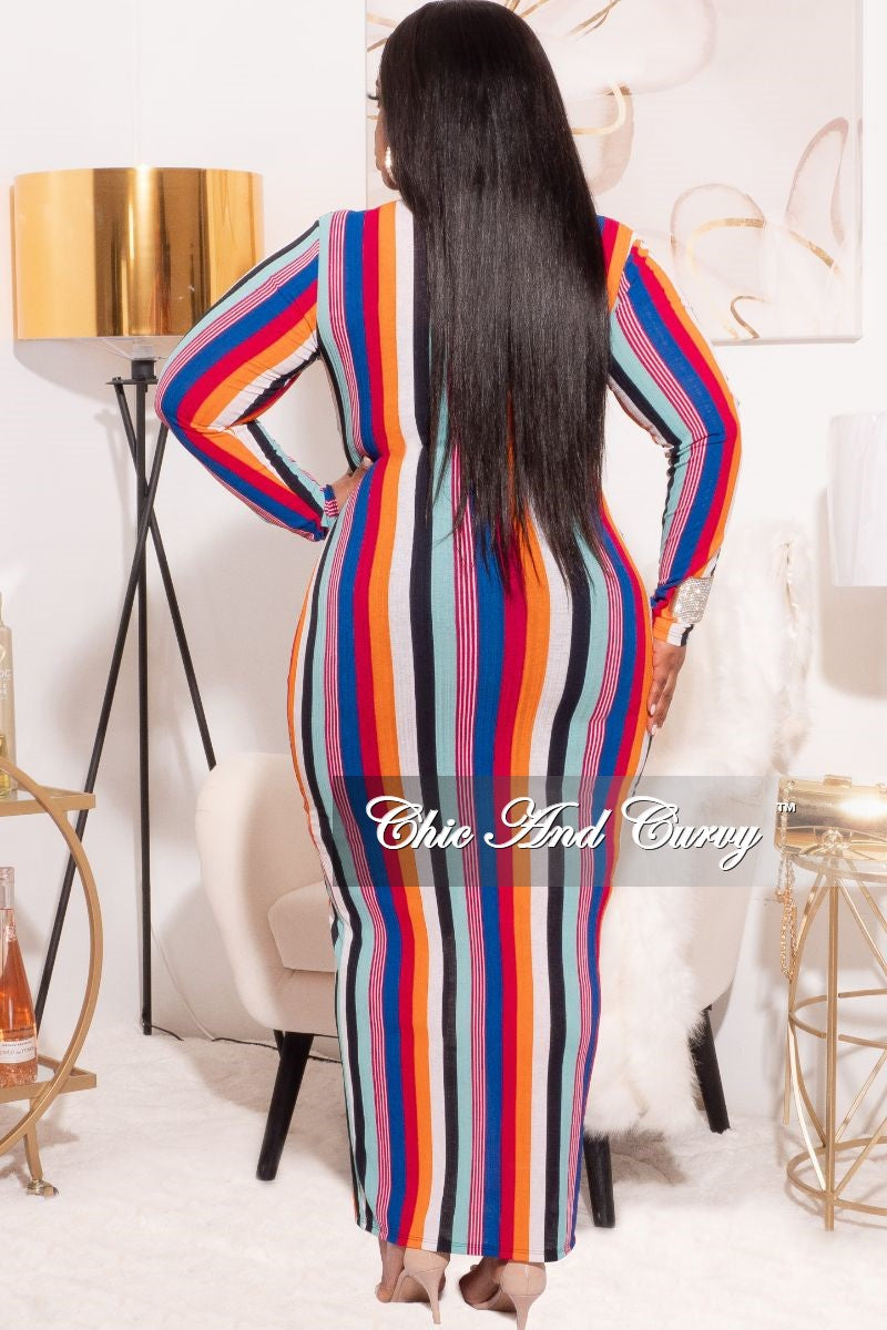 *Final Sale Plus Size Bodycon Dress with Front Zipper in Multi-Color Stripes