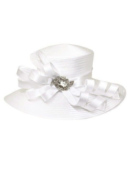 Final Sale Ribbon and Rhinestone Hat in White