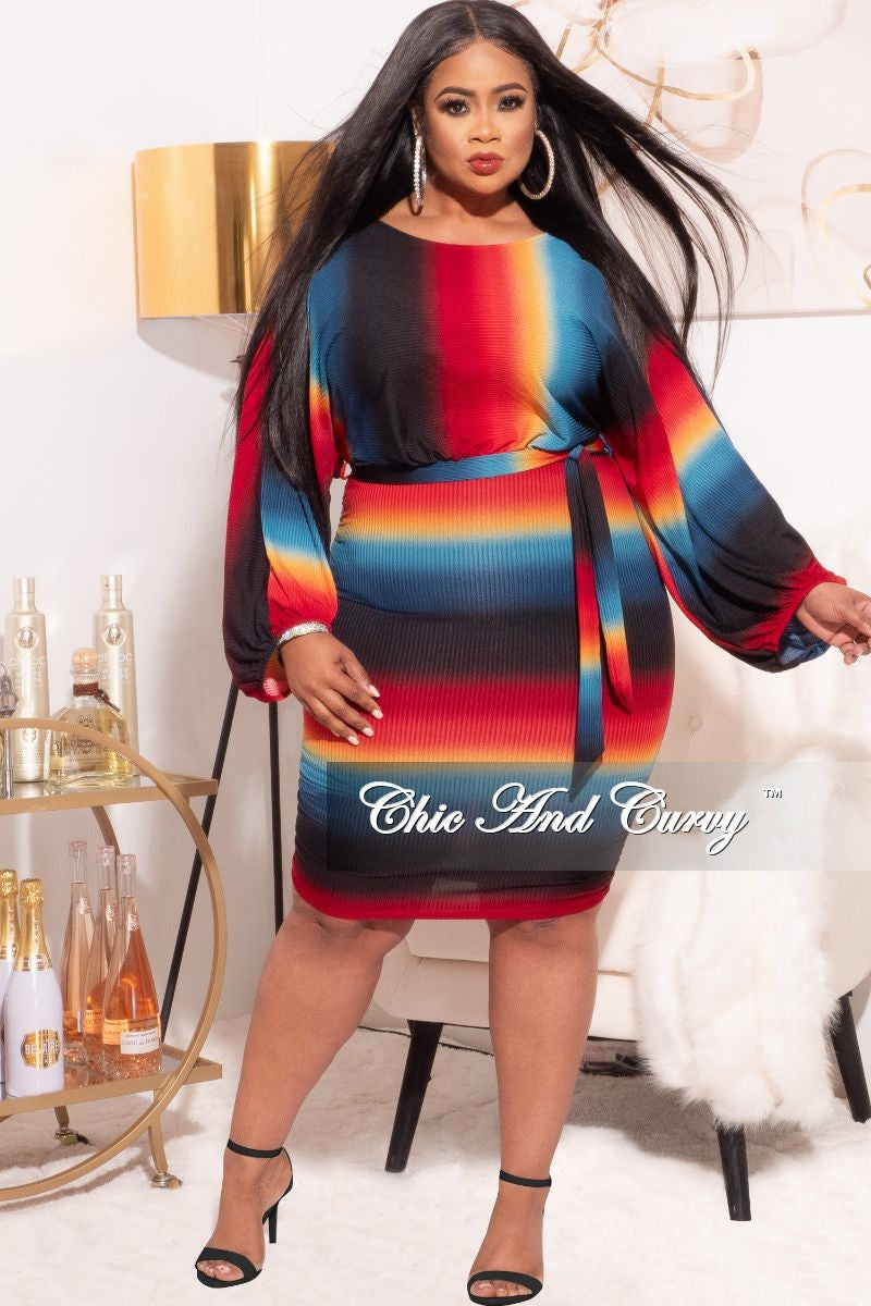 *Final Sale Plus Size Dress in Striped Multi-Color Print