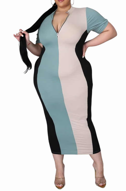 Final Sale Plus Size Colorblock Bodycon Dress in Black Sage & Beige