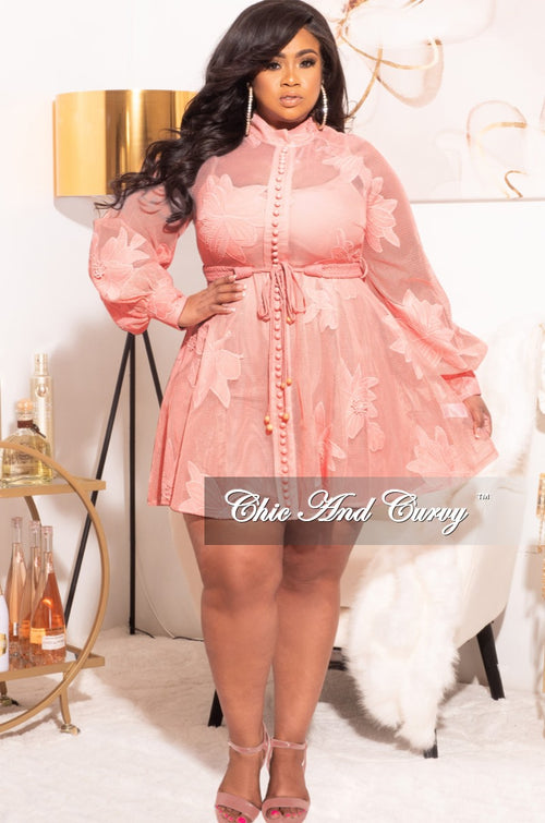 Final Sale Plus Size Floral Embroidered Babydoll Dress in Mauve Pink