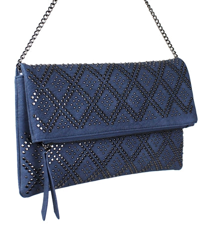 Final Sale Clutch with Silver Studs in Antique Blue