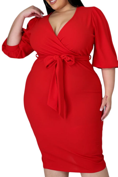 Final Sale Plus Size Faux Wrap Bodycon Dress in Red