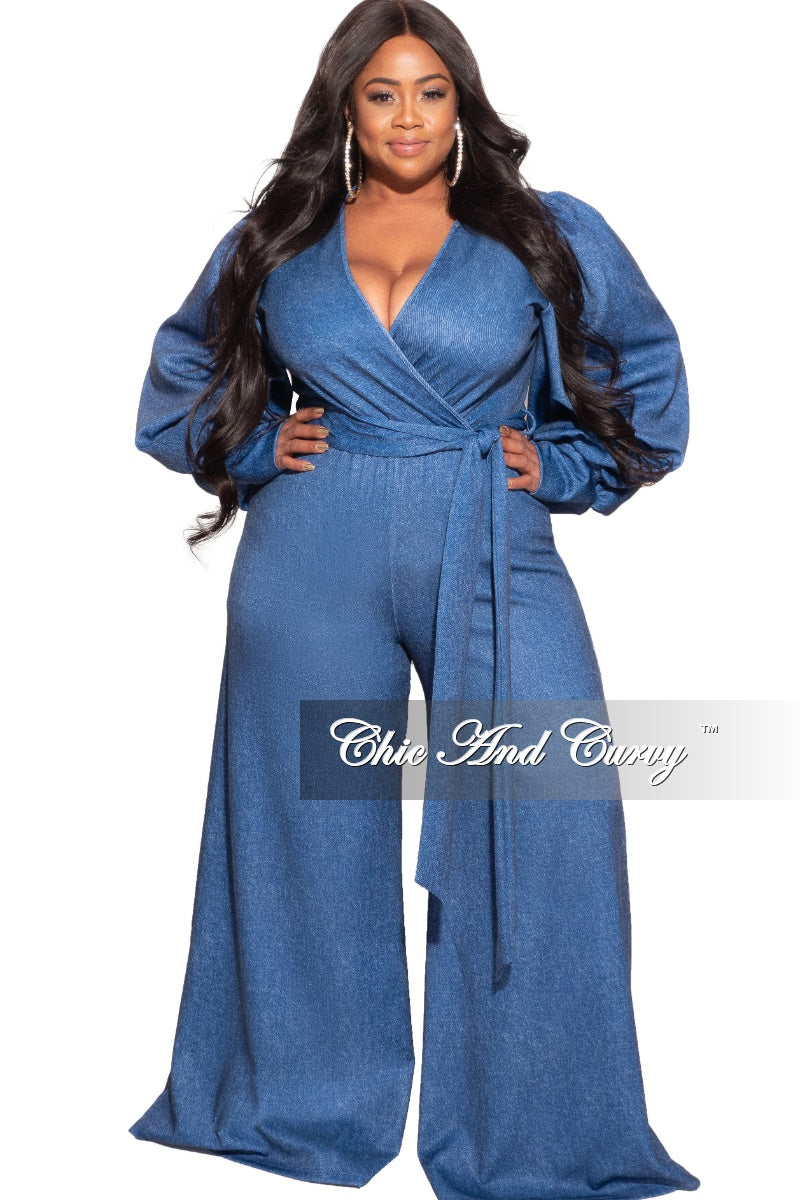 *Final Sale Plus Size Faux Wrap Tie Jumpsuit in Faux Denim