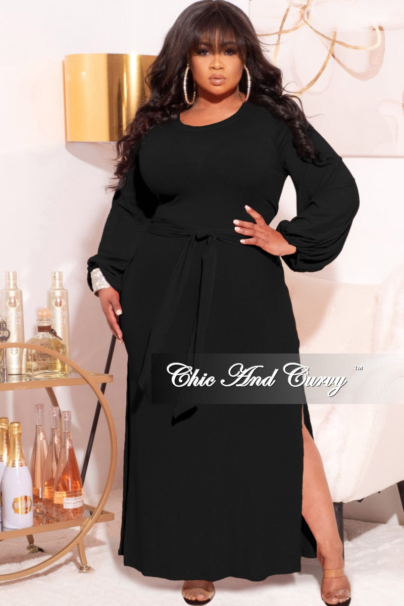 *Final Sale Plus Size Ribbed Maxi Dress with Side Slits in Black