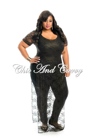 New Plus Size Short Sleeve Lace Overlay in Black