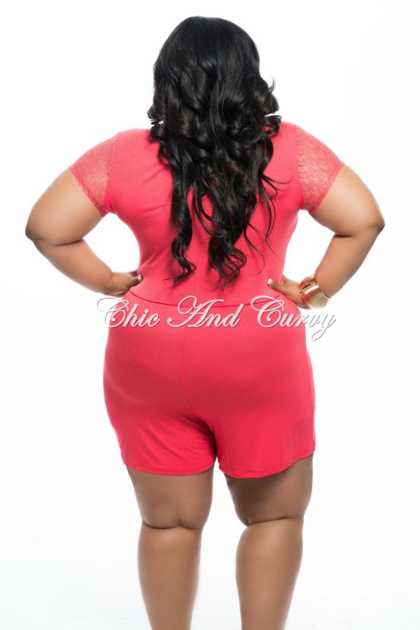 New Plus Size Romper w/ Lace Sleeves in Coral