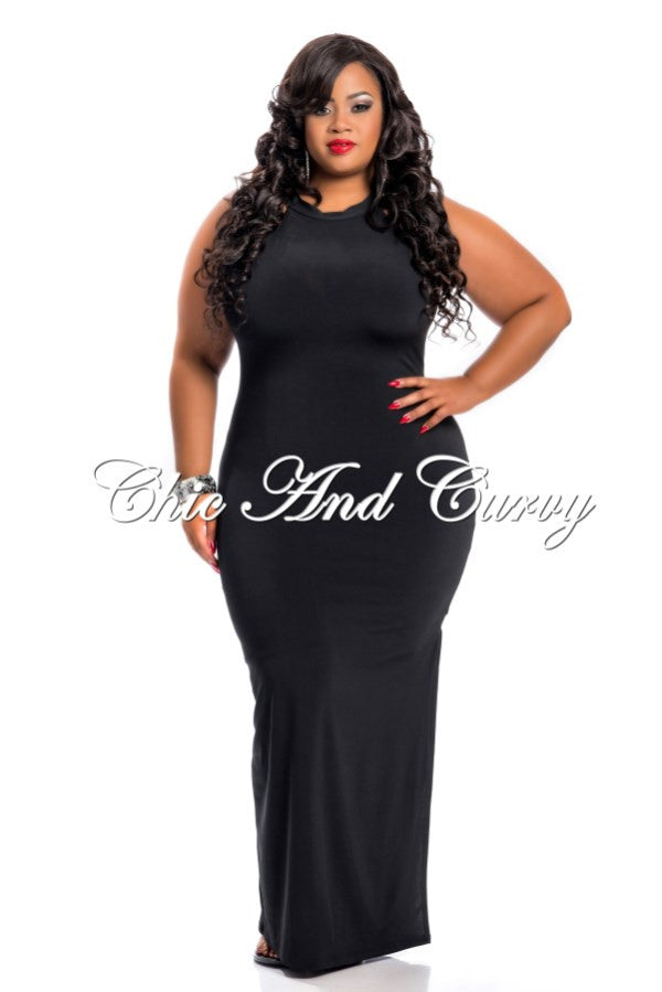New Plus Size Long Halter Dress In Black