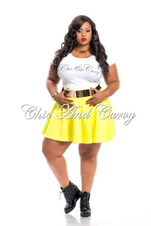 Final Sale Plus Size Skater Mini Skirt in Highlighter Green Color