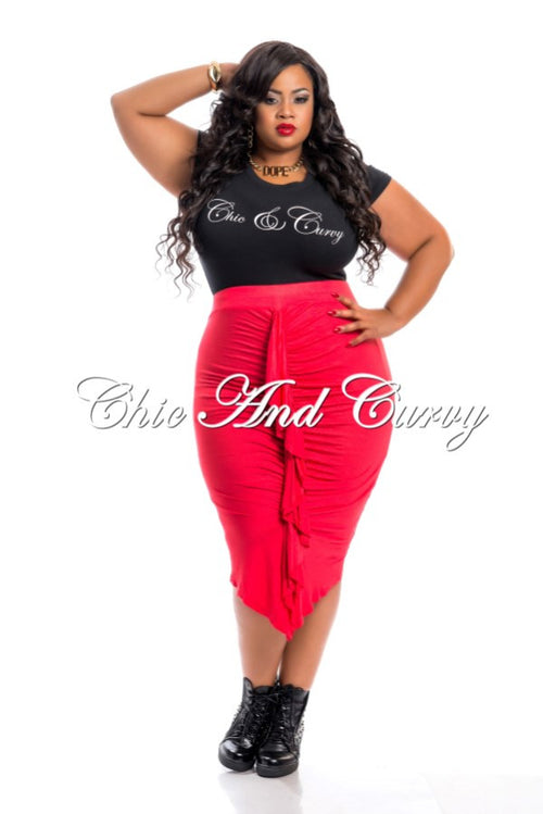 Final Sale Plus Size Reversible Skirt with Center Ruffle in Tomato Red