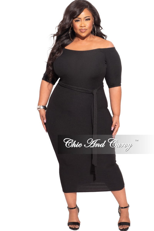 *Final Sale Plus Size Off The Shoulder Ribbed Bodycon Dress
