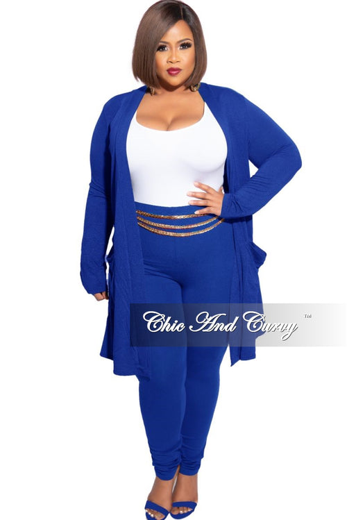 New Plus Size 2-Piece Cardigan and Legging Set in Royal Blue
