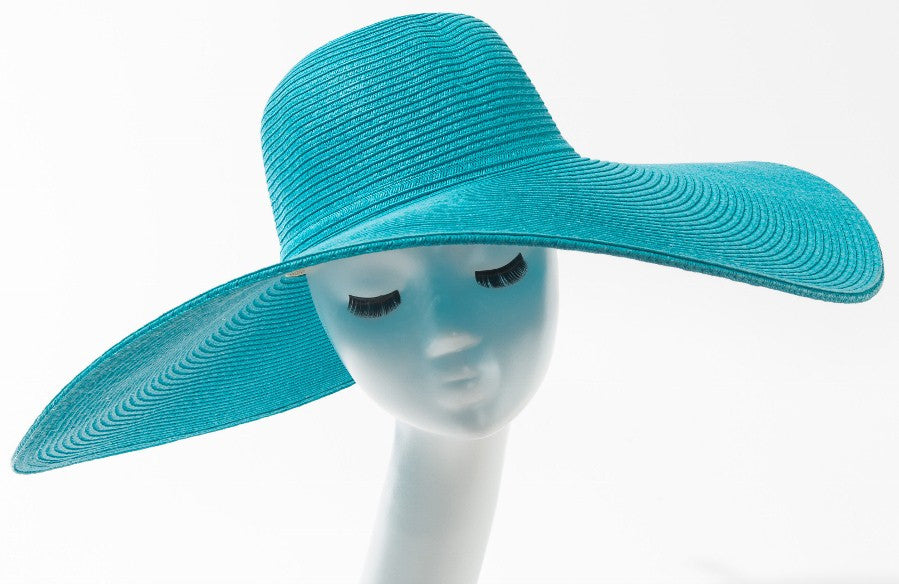 147ac3d0 Final Sale Wide Brim Sun Hat in Light Turquoise – Chic And Curvy