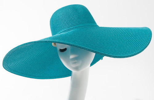 Final Sale Wide Brim Sun Hat in Light Turquoise