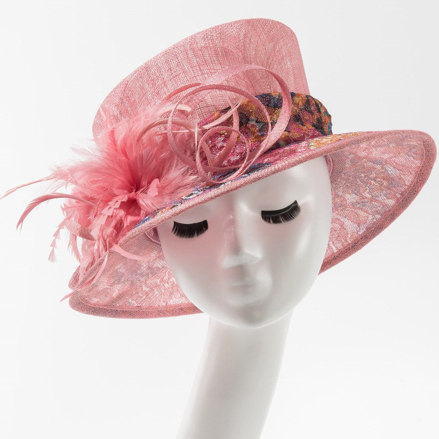 Final Sale Dressy Hat with Multi Color Design in Pink