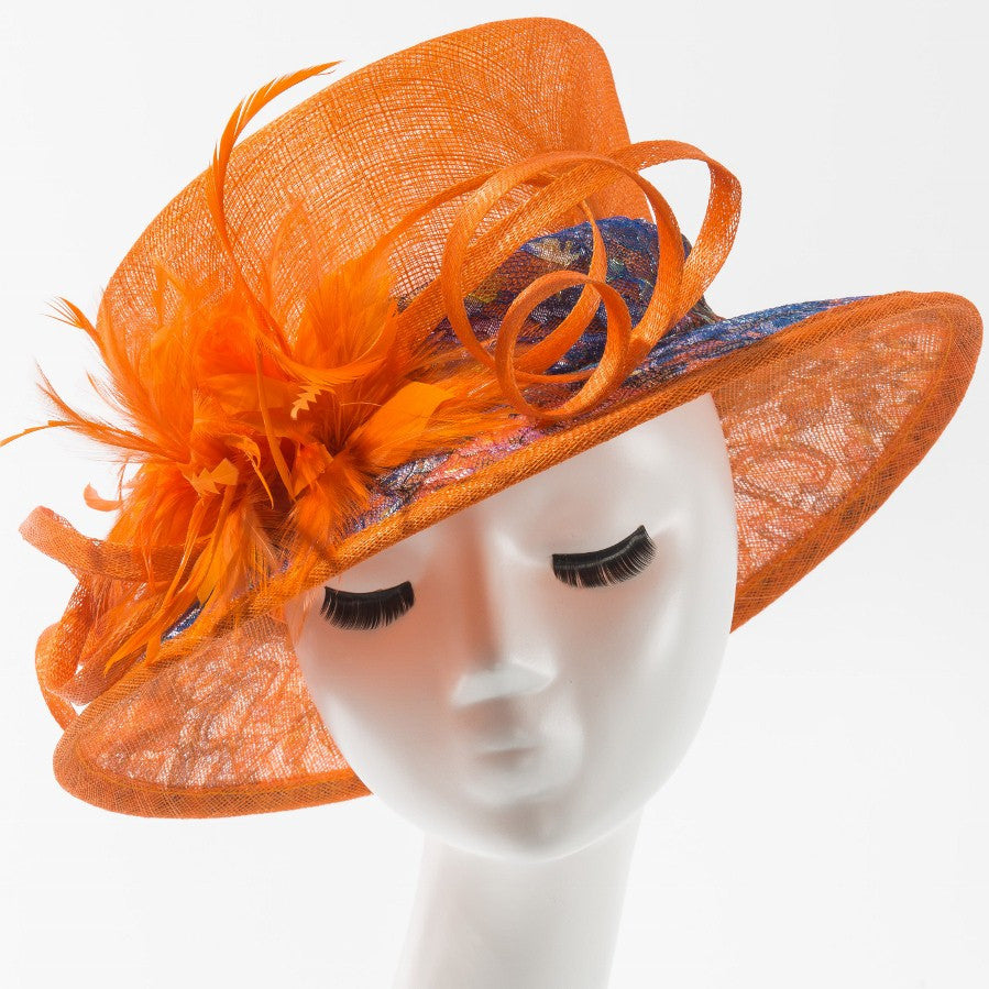 Final Sale Dressy Hat with Multi Color Design in Orange