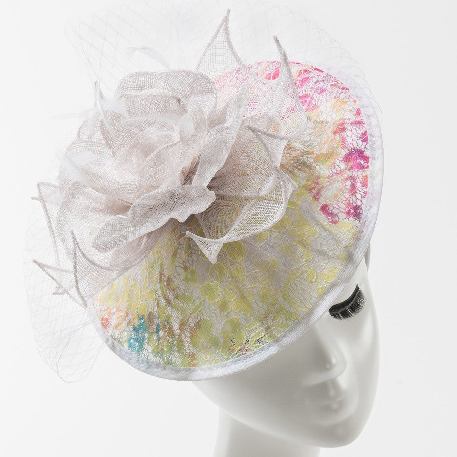 Final Sale Fascinator Hat with Flower in White