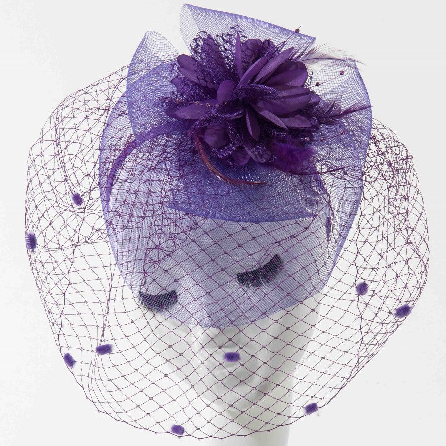 Final Sale Fascinator Hat with Dots in Lavender