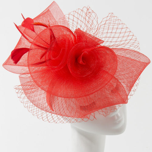 Final Sale Fascinator Hat with 3 Roses and Bow in Red