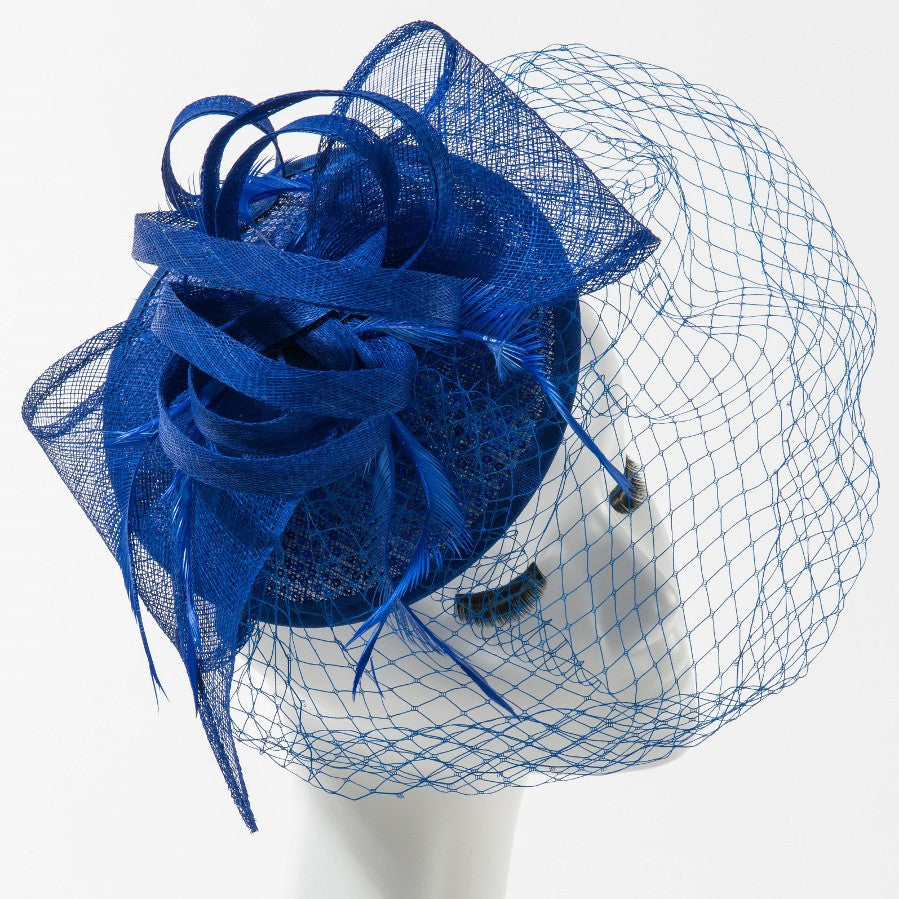 Final Sale Fascinator Hat with Veil in Royal Blue