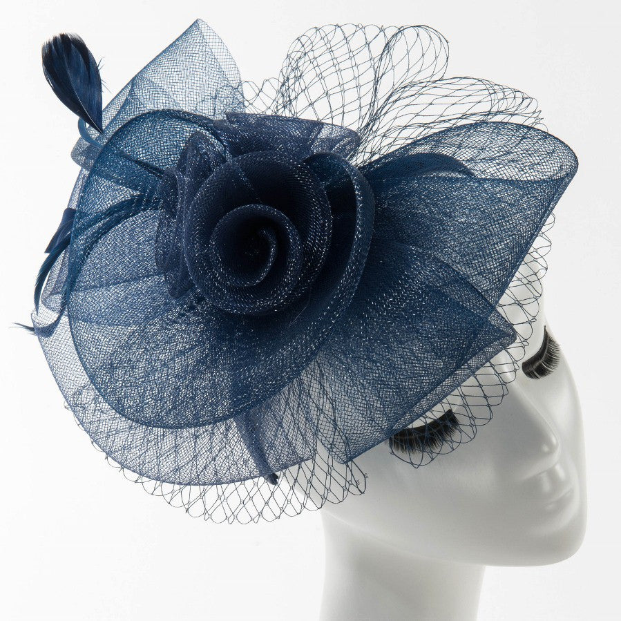 Final Sale Fascinator Hat with 3 Roses and Bow in Navy