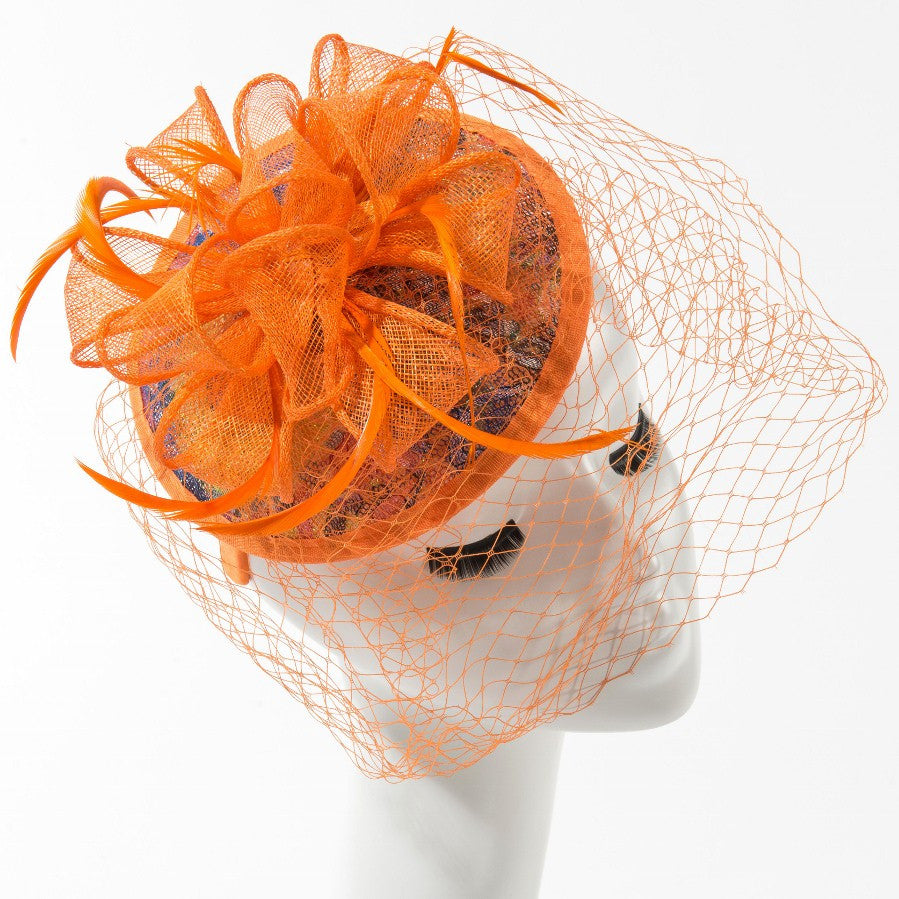 Final Sale Fascinator Hat with Bow in Orange
