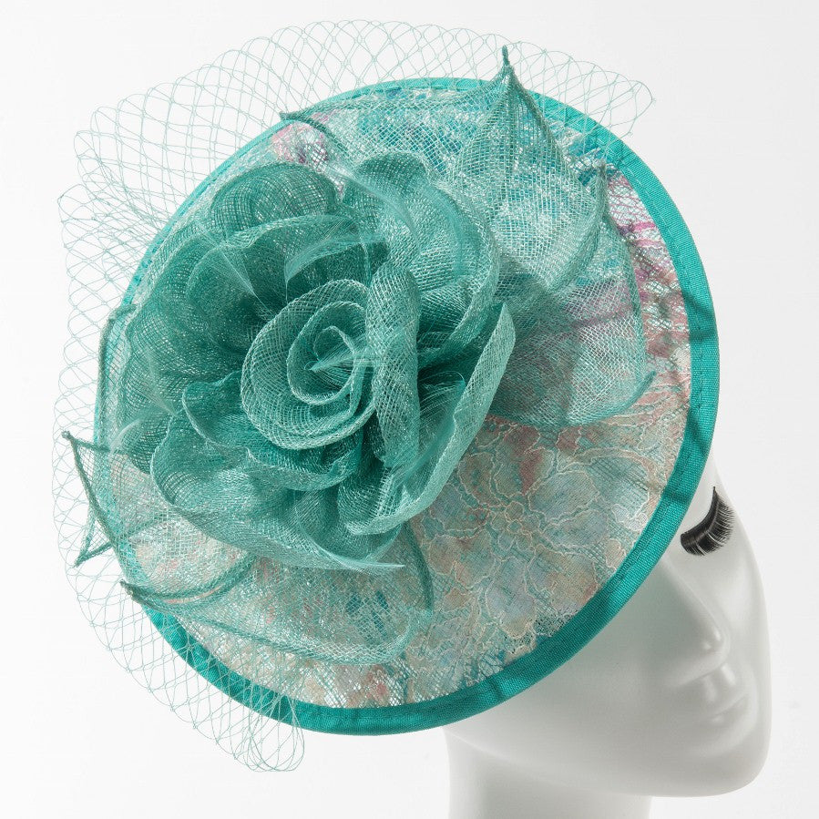 Final Sale Fascinator Hat with Flower in Aqua