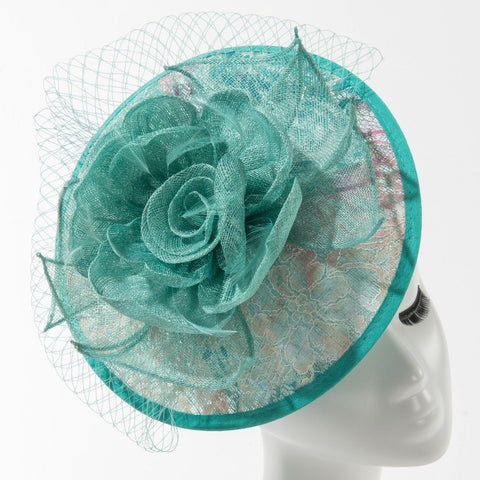 Final Sale Fascinator Hat with Orchid Flowers and Feathers in Black
