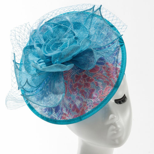 Final Sale Fascinator Hat with Flower in Blue