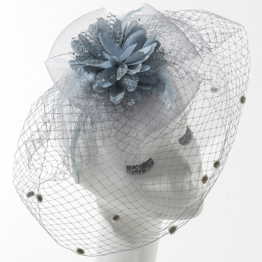 Final Sale Fascinator Hat with Dots in Grey