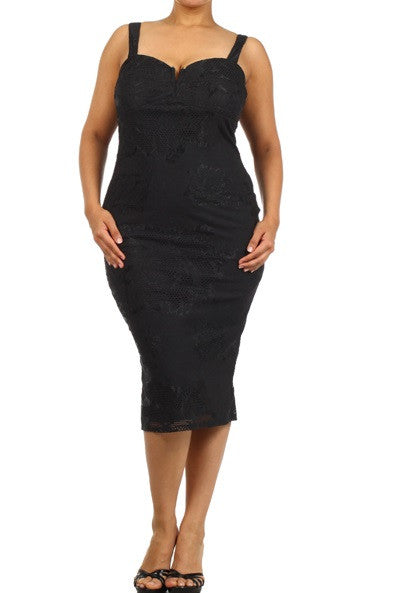 Final Sale Plus Size Bodycon Thick Spaghetti Strap Bombshell Dress in Black Lace