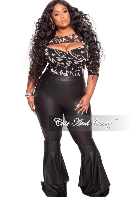 *Final Sale Plus Size Faux Leather Bell Bottom Pants