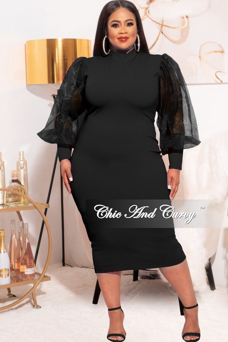 Final Sale Plus Size Sheer Organza Puffy Sleeve Bodycon Dress in Black
