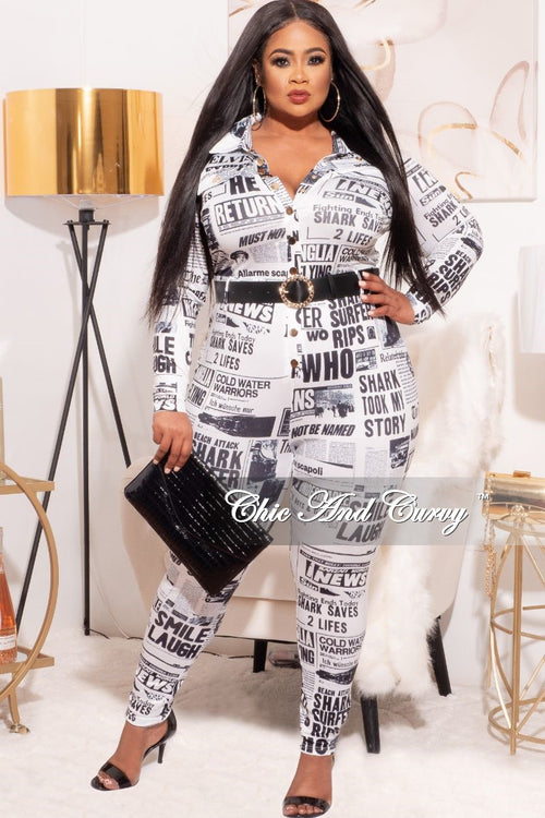 *Final Sale Plus Size NewsPrint Jumpsuit in Black & White