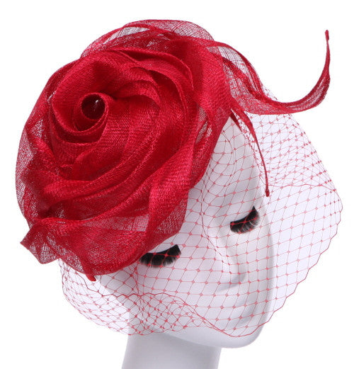 Final Sale Fascinator Hat with Veil and Flower Design in Red