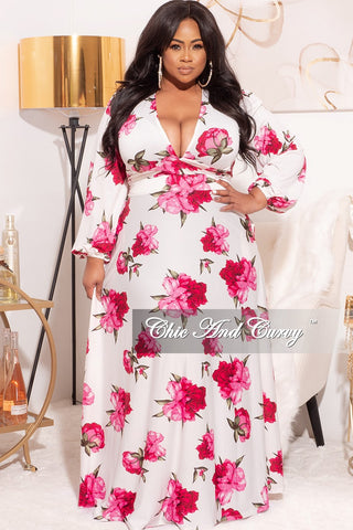 Final Sale Plus Size Satin Maxi Set in Multi-Color Print